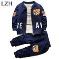 LZH Niño Niños Ropa 2017 Primavera Otoño de Los Bebés Ropa Fijada Coat + Shirt + Pants 3 unids Chándales Niños Ropa de niños Sets