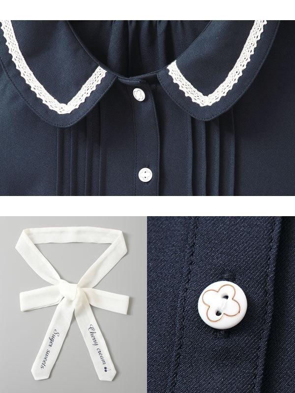 Preppy Et Marine Tops Lolita Style Blue Cravate Bouffantes Bleu Blouse Femmes Arc Vintage Lait De Avec navy Manches Mignon Blanc White Milk Chemise aFngqtwF