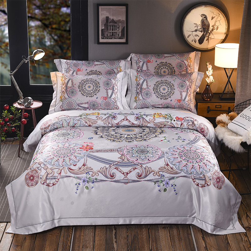 2018 Flower and bird printing Green Color 4 Pcs Queen King Size Bedding Set High Quality Bohemia style Duvet Cover2018 Flower and bird printing Green Color 4 Pcs Queen King Size Bedding Set High Quality Bohemia style Duvet Cover