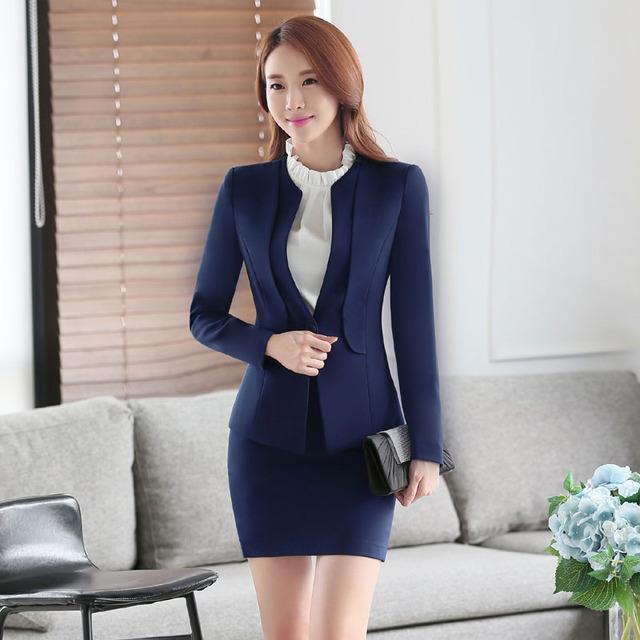 Moda Azul Blazers Ternos Formais Ternos Das Mulheres de Negócio Trabalho Profissional Outono Inverno Com Jaquetas E Ternos de Saia Das Senhoras Saia