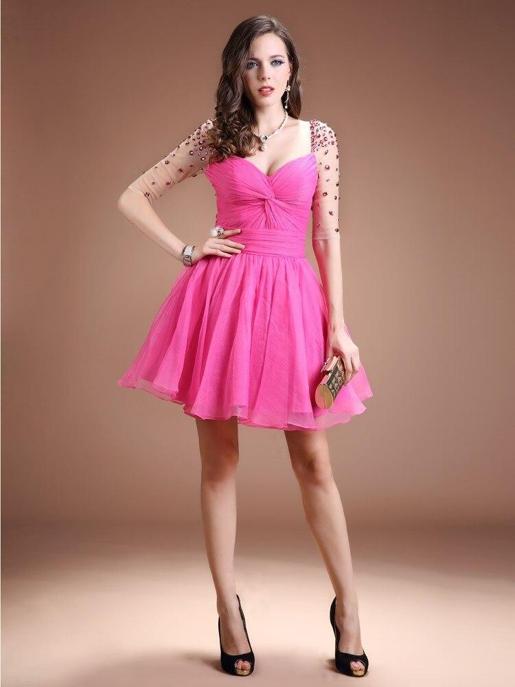 Sexy corto De color rosa vestidos Criss Cross Sweetheart Vestido De ...