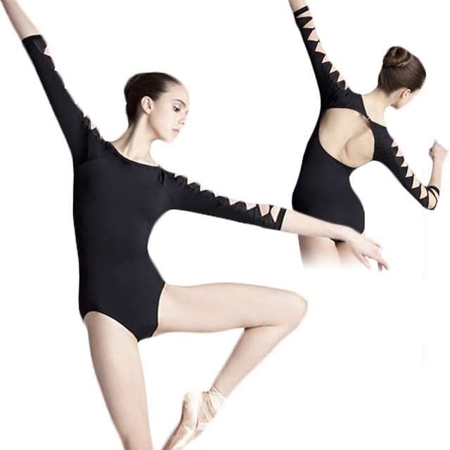 Adult Girl Black 3/4 Long Sleeve Practice Dance Backless Unitard Cotton Spandex Gymnastic Ballet