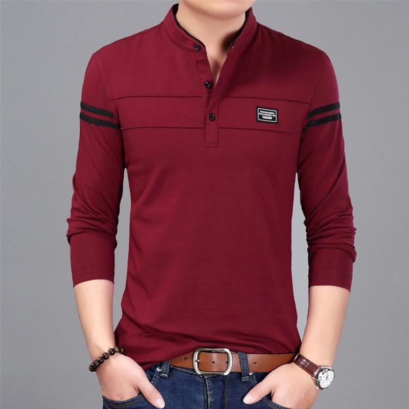 Liseaven Men T Shirt Man Long Sleeve tshirt Men's Clothing Mandarin Collar T-Shirts Tops & Tees Male Tshirts 3