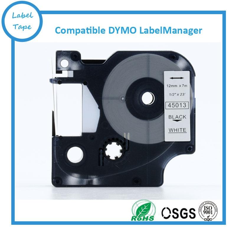 12mm LBlack On White DYMO D1 LabelManager Label Tape 45013