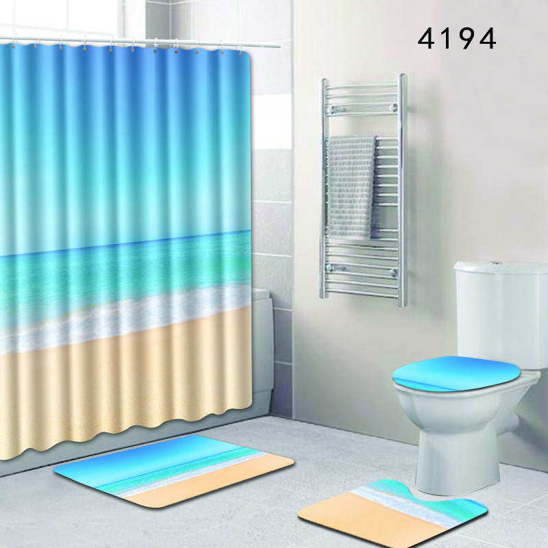 Bathroom Set Carpet Scenery of Ocean 4pcs Shower Curtain and Rug Sets Toilet Mat Accessories 50x80 Anti Slip Foot Pads for Gift