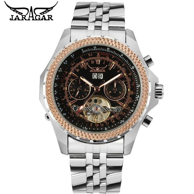 2017 JARAGAR  Luxury Watches Men Tourbillion Automatic Mechanical Watch Wristwatch+Gift Box Free Ship jaragar men steel watch auto flywheel day mechanical men s watch wristwatch gift gift box free ship