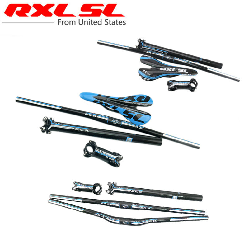 Carbon MTB Bicycle handlebar MTB bike set Carbon Flat or Riser Handlebar/Stem/seatpost/saddle Ultra light Parts Set 3K Glossy cycling king c k 2015 mtb handlebar bicycle stem carbon seatpost tube flat or riser mountain bike bar top carbon super set