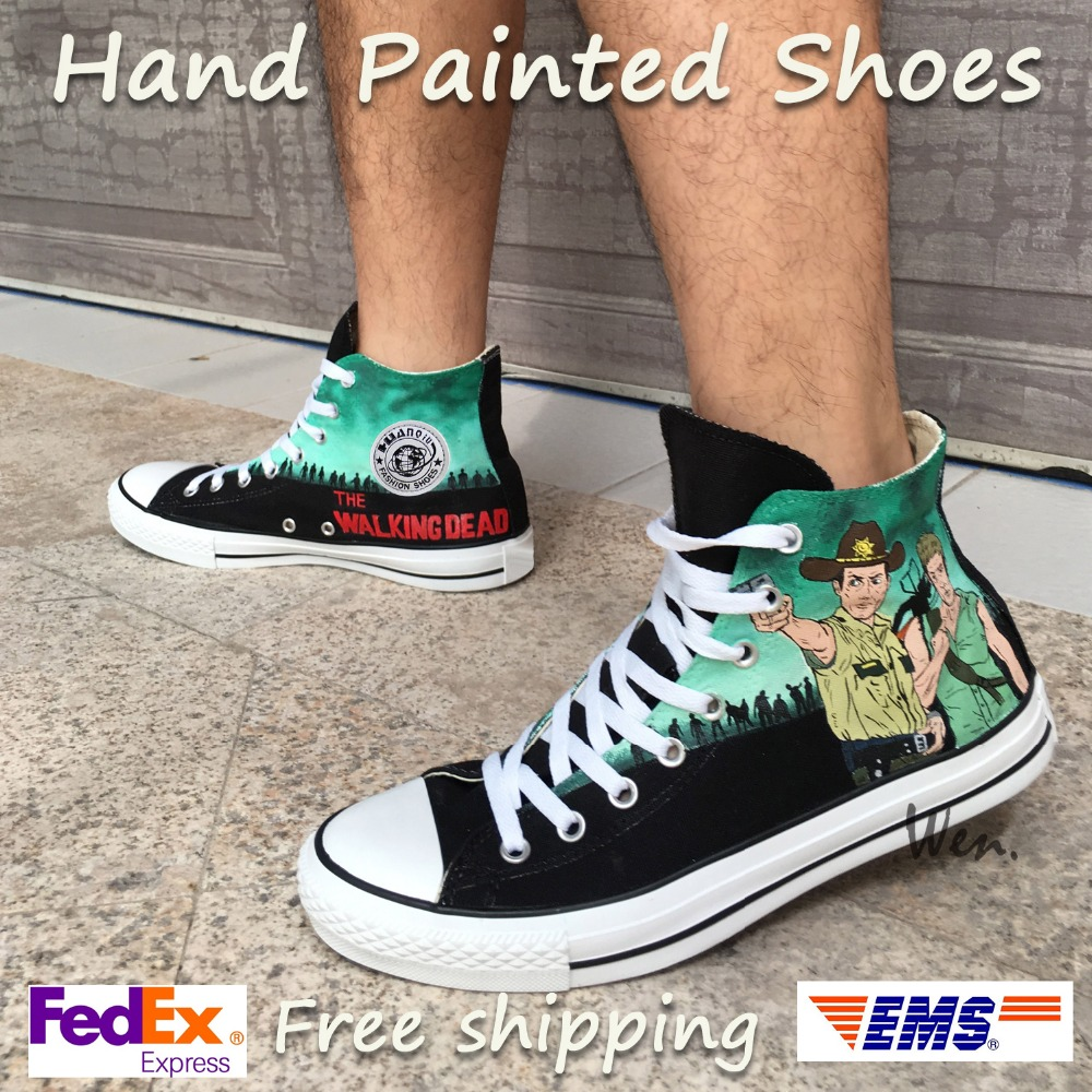 Wen Design Custom Hand Painted Sneakers Walking Dead Men Womens High Top Canvas Shoes for Christmas GiftsWen Design Custom Hand Painted Sneakers Walking Dead Men Womens High Top Canvas Shoes for Christmas Gifts