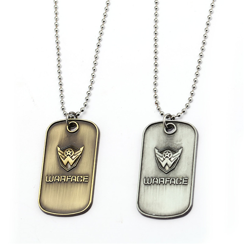 HSIC Game Jewelry Warface Necklaces Vintage Metal Pendant Necklace Men War Face Chocker Friendship Accessories Colar Gifts HC125