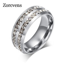 ZORCVENS New Brand Black Gold Silver Color Double Row Crystal Stone Stainless Steel Engagement Rings for Man Woman(China)