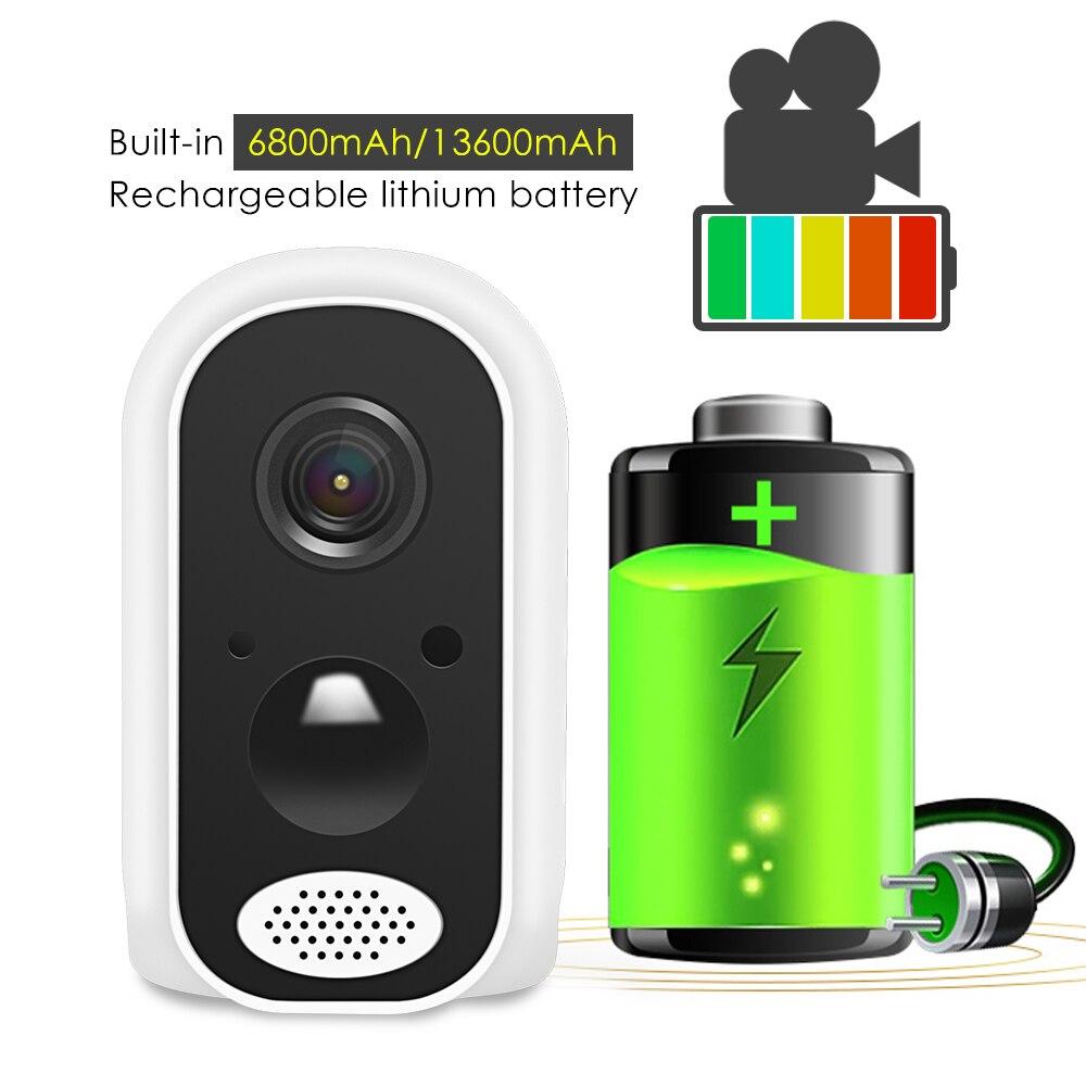 Hiseeu batterie wifi IP caméra 1080P Rechargeable 10400mA batterie alimenté sans fil sécurité à domicile cctv caméra PIR alarme étanche