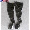 UPHEEL 30cm heel patent  Thigh High boots ultra High heel 12inch heel Sex Fetish thin heel platform lace up zipper crotch boot