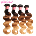 Ombre Hair Extensions Indian Virgin Hair Body Wave 3 Bundles Three Tone #1B/4/27 Ombre Human Hair Weave Wet and Wavy Indian Hair