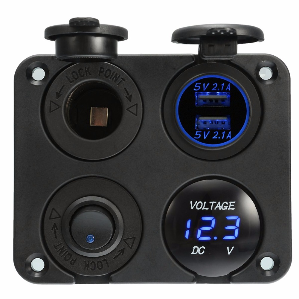 Dual USB Socket Charger 2.1A+2.1A + 12V Power Outlet +NO-OFF Switch+ LED Voltmeter 4 In 1 Charger Panel For Car Motocycle