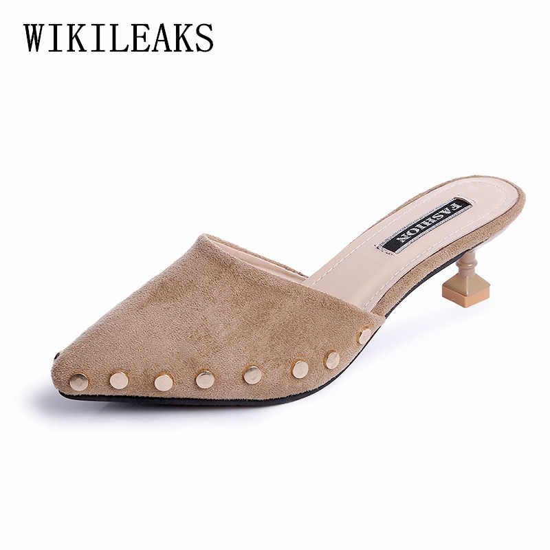 huge discount 7f7bf fbdd6 pumps women shoes summer 2019 ladies shoes high heel Pointed Toe mules  shoes women heels tacones tacones altos mujer sexy scarpe