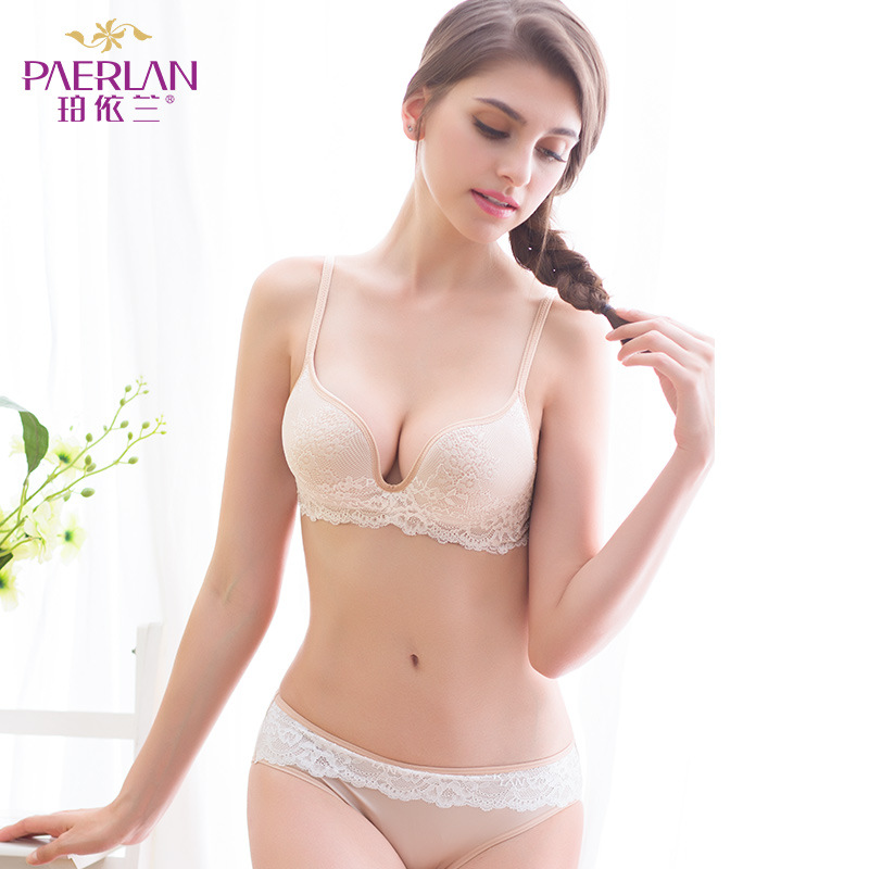 PAERLAN Fashion Brand Lace Sexy Slim V-neck Deep Underwear Hot Retro Multicolor 7 Color Selection   Bra     Set   Comfortable