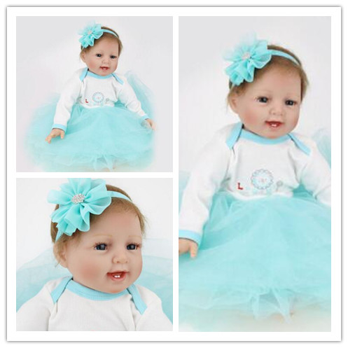 22 inch reborn dolls babies Baby Alive Silicone Reborn Toddler Princess Girl Dolls Mini Silicone Reborn Baby Doll adorable soft cloth body silicone reborn toddler princess girl baby alive doll toys with strap denim skirts pink headband dolls