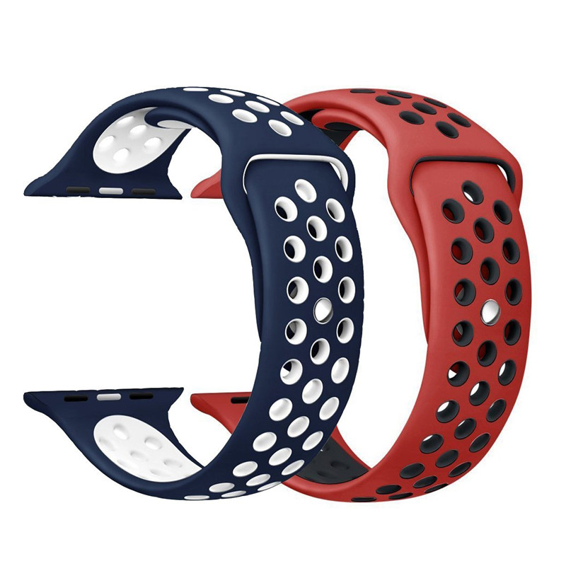Sport Silicone Watchband Breathable hole Replacement Strap for Apple watch series 1 2 3 strap 38/42mm bracelet for iWatch band sport silicone band strap for apple watch nike 42mm 38mm bracelet wrist band watch watchband for iwatch apple strap series 3 2 1