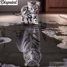 Dispaint Full Square/Round Drill 5D DIY Diamond Painting Cat tiger scenery 3D Embroidery Cross Stitch Home Decor A11223