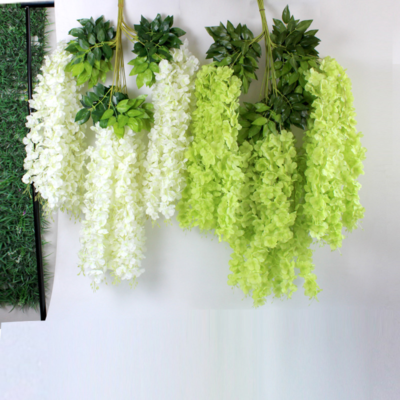 12pcs 100 Cm Artificial Flowers Vine Silk Green Leaves Cane DIY Wedding Living Room Decor