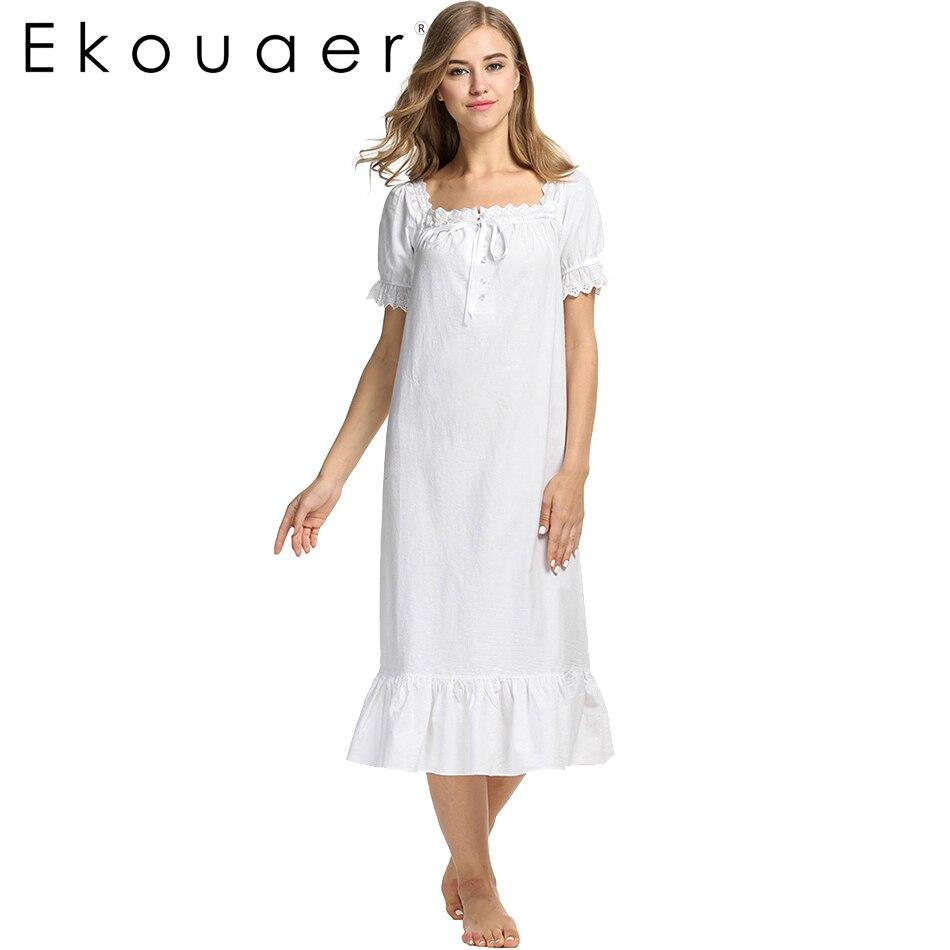2017 Summer Nightgown Cotton Solid White Women Nightwear Sexy Sleeping Dress For Ladies Home Clothes Sleepwear Short sleeve