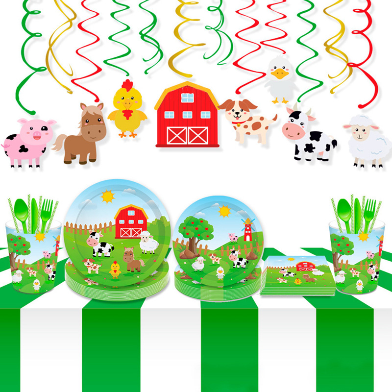 Farm Animals Disposable Tableware Farm Animals Theme Party Kids Birthday Party Tableware Set Paper Plate Cup Party Decorations in Disposable Party Tableware from Home Garden