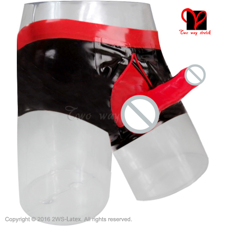 Black and Red Sexy Boxer Shorts penis sheath pouch zipper Rubber underwear condom Hot Pants Bermuda