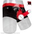 Сексуальный Латекс Длинные ноги Боксеры пениса оболочка мешочек молния Резиновые underwear презерватив Шорты Бермуды Бурлящие Штаны XXL плюс размер