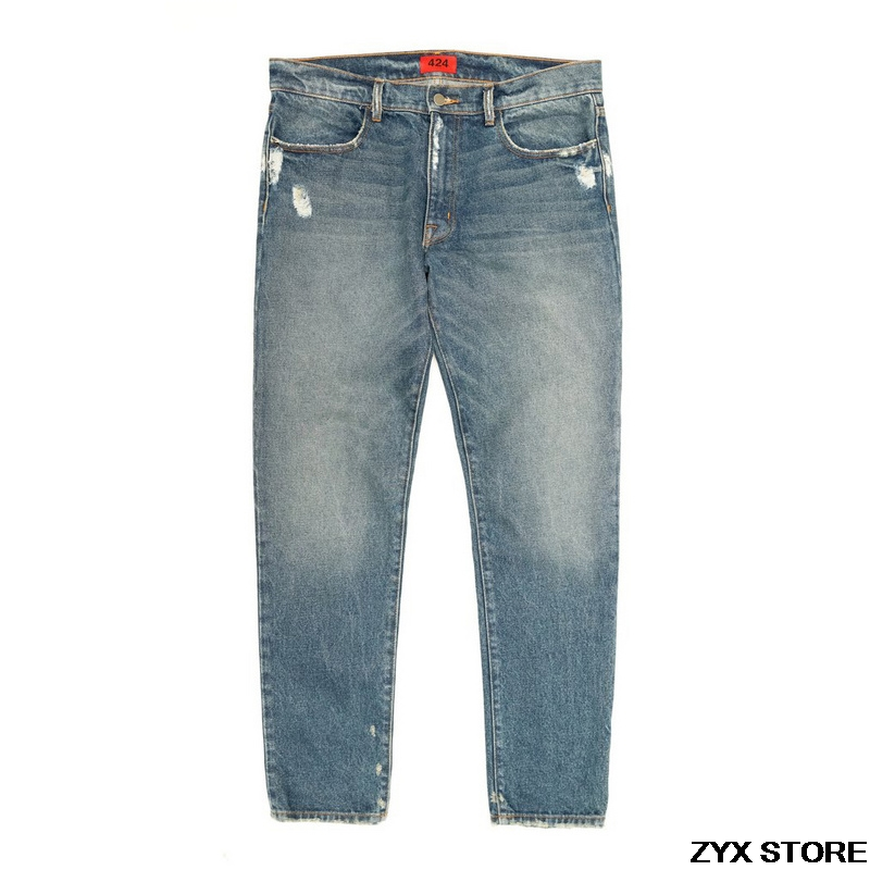 Best Version 424 Four Two Four Classic Women Men Denim Jeans Hiphop Top Street brand Straight Fit Distressed Washed Jeans 424 цена и фото