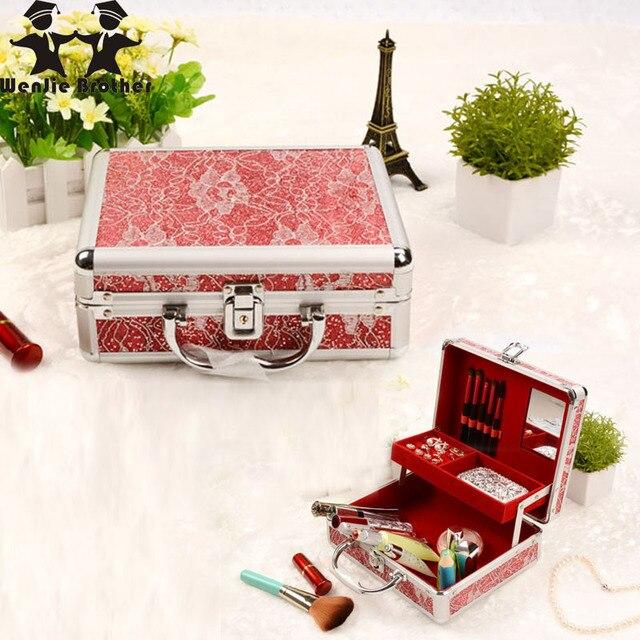 Hot Sale good quality shinning Professional Make up Box PU Makeup Case Beauty Case Cosmetic Bag Multi TiersJewelry Box