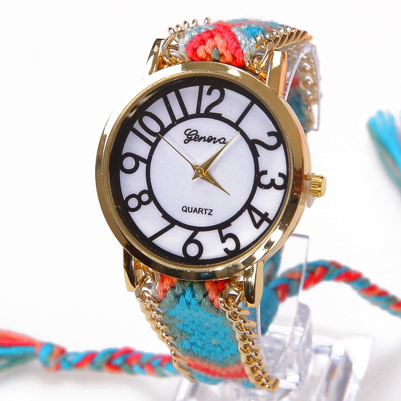 Gnova Platinum Rainbow Geneva Platinum Watch Women old retro Style dial Fashion wristwatch Ribbon Lace Gold Chain Braid Reloj