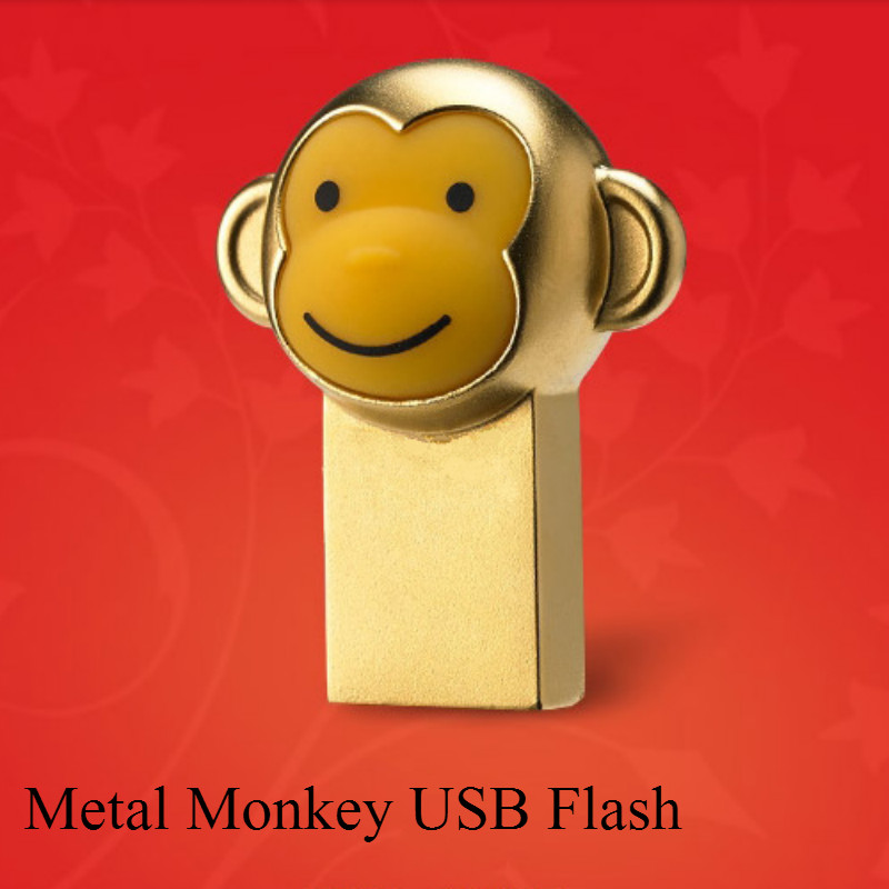 Hot Sale USB Flash Drive Cute Cartoon Gold Monkey Model USB 2.0 Pen Drive 32GB/64GB Pendrive 4GB/8GB/16GB Memory U Disk Freeship