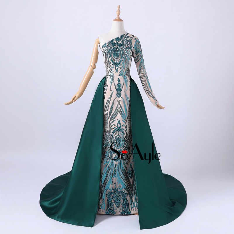 SoAyle 2018 одно плечо блесток кружева темно-зеленый съемный шлейф атласный хвост Выпускные Платья Vestidos De Festa формальное платье