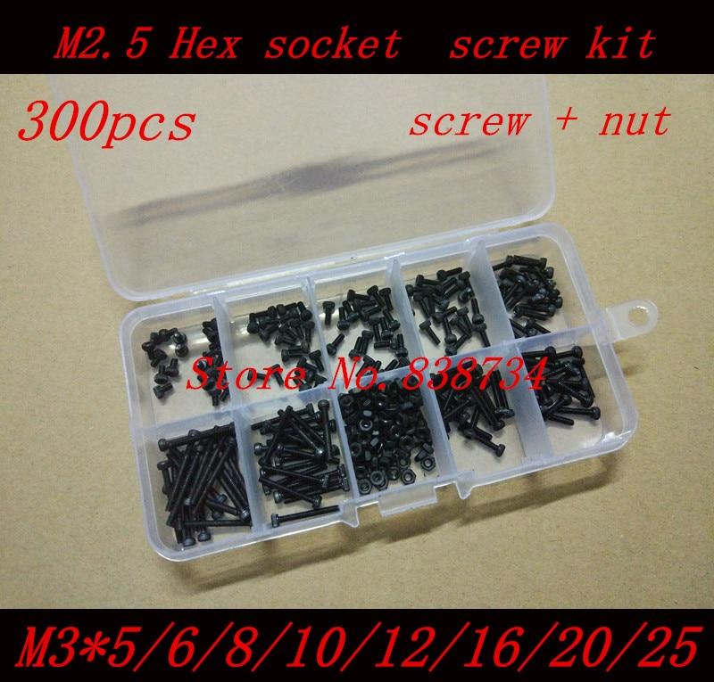 300PCS/Set Black DIN912 M3 Allen Bolt Hex Socket Round Cap Head Screw and nut Assortment Kit Set