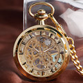 Роскошные Скелет Золотой Механическая Ручным подзаводом Мужчины БРЕЛОК Женщины Стимпанк Подарок Карманные Часы Прохладный Моды Старинные Relógio Masculino