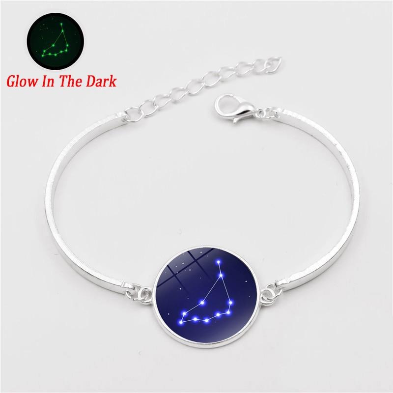 Glow In The Dark 12 constellations bracelet zodiac Luminous jewelry Glass Cabochon Silver cuff bracelets for Women birthday gift