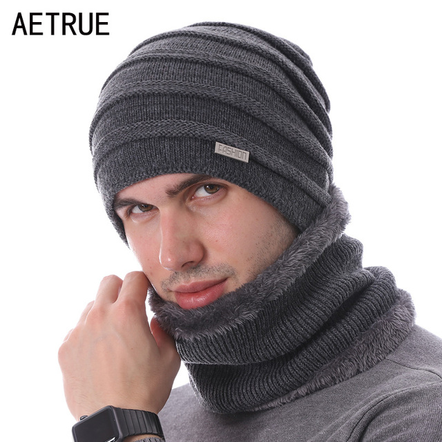 10971eb5d548a AETRUE moda invierno bufandas sombrero Skullies gorros hombres Bonnet  sombreros para hombres mujeres marca Gorras lana