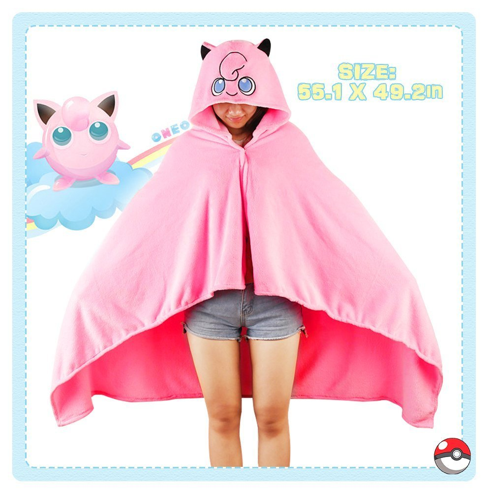 OJBK Hooded Cape Coat Anime Pokemon Cosplay Cloak Comfortable Otaku Girl Air conditioner Blanket Spring Winter Shawl Jigglypuff