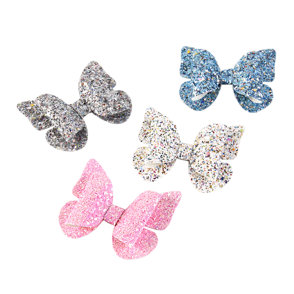 David accessories butterfly Bowknot Glitter synthetic leather Hair Bow  Without Clip Girls Hairpin 15e43de38113