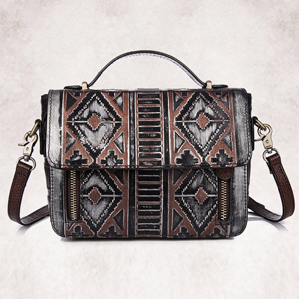100% Genuine Leather Women Messenger Shoulder Bag Brand Vintage Designer Female Cross Body Bags Natural Skin Small Tote Handbag