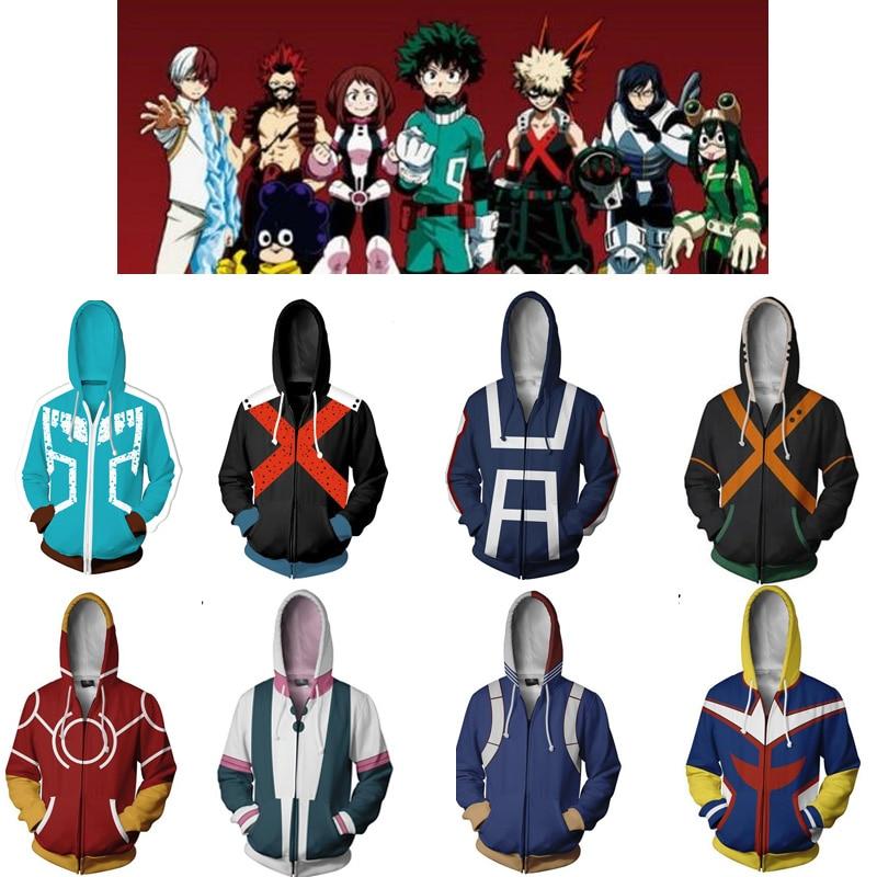 My Hero Academia Cosplay Costume Hoodie Izuku Midoriya Shouto Todoroki Boku Polyester Sweatshirt Women Men Halloween Party Gifts