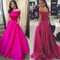 New design 2016 Elegant Fushia Satin Boat Neck off Shoulder Lace up Prom Dress A Line Custom Party Wear Gowns PB08