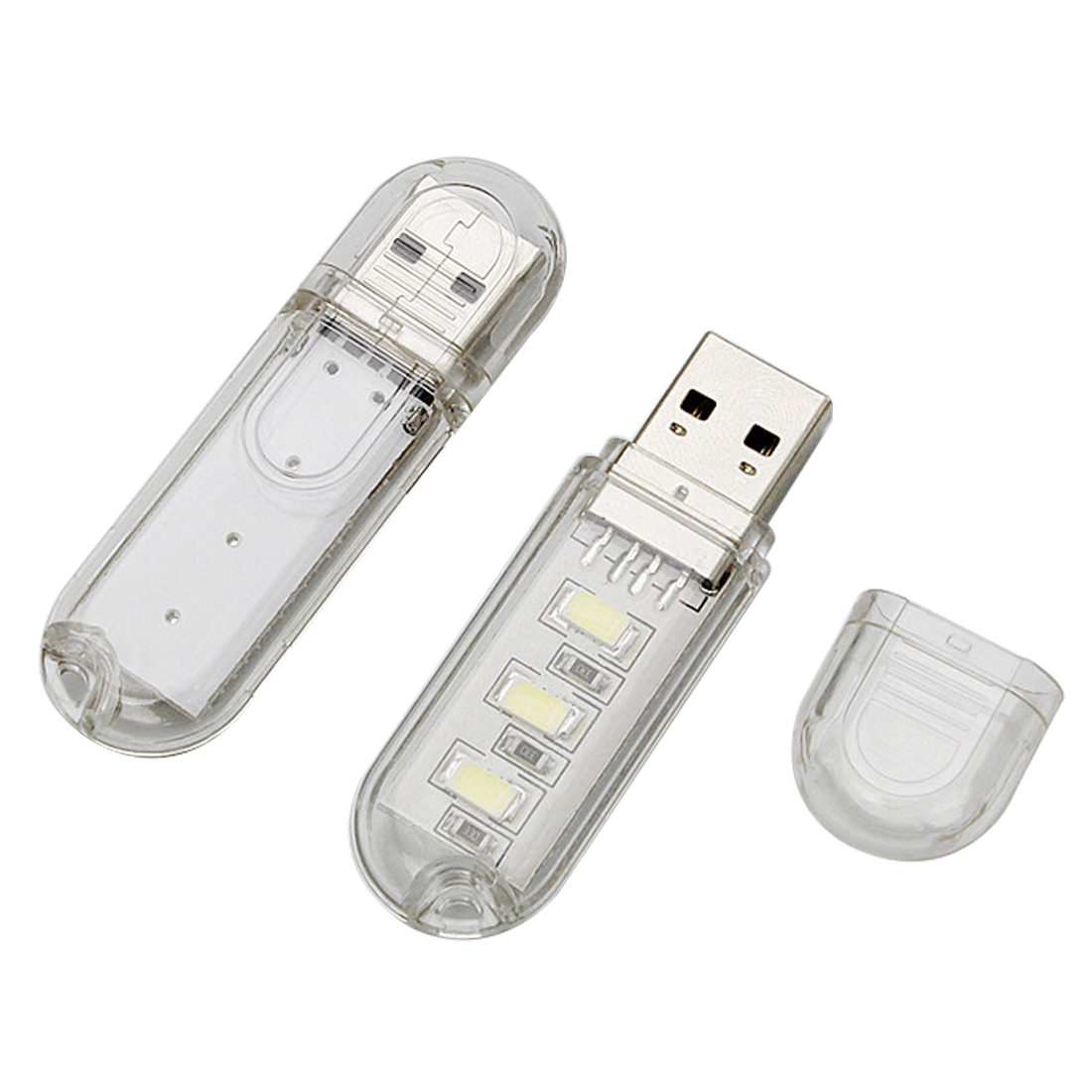 2Pcs Mini White LED Night Light Pocket Card Lamp Led Keychain Portable USB t9