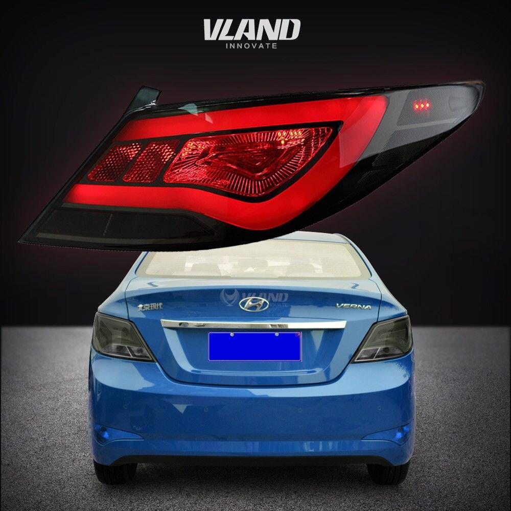 Feu arrière à lentille rouge pour Hyundai Accent Solaris Verna 2012-2017 feux arrière LED fumé Len