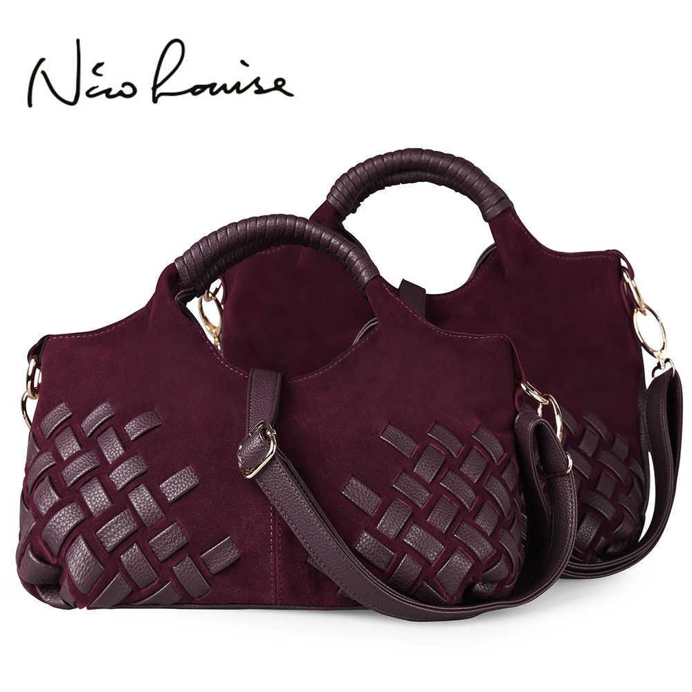 Latest Women Weave Suede Split Leather Handbag Female Leisure Casual Lady Crossbody  Shoulder Bag Messenger Top 160428c62e