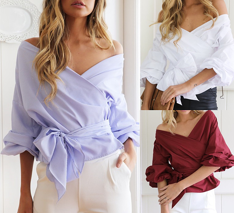 Sexy V-neck camisas femininas 2016 korean Puff sleeve blouse shirt Women tops cheap-clothes-china bow blusas y camisas mujer