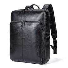 Купить с кэшбэком Men's fashion leather laptop backpack women Fashionable locomotive wear vertical square soft surface travel bags duffle bag