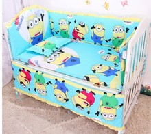 Promotion 6pcs Minions Baby Cot Crib Bedding set for girl and boys include bumpers sheet pillow