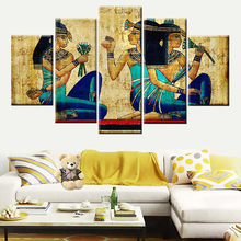 Canvas 5 Panel Abstract Papyrus Ancient Egyptian Character Painting Poster Nordic Style Wall Art Picture Home Decor Living Room