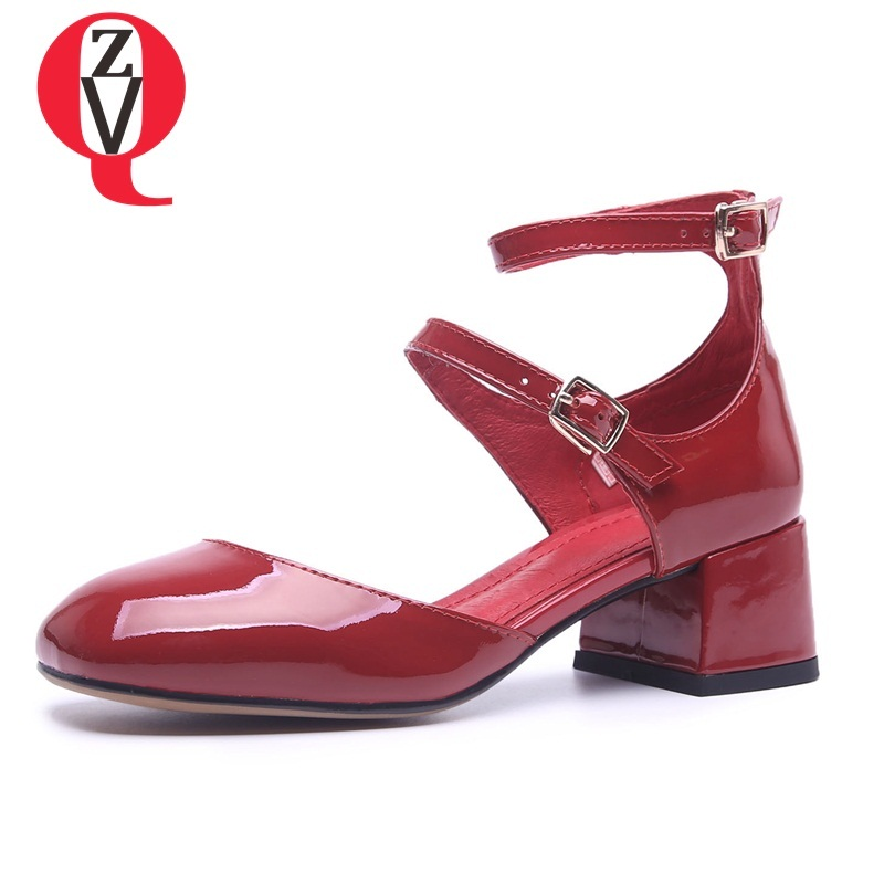 ZVQ women shoes new fashion patent leather med square heel buckle strap heel height 5 cm red and black sweet lady pumps цена